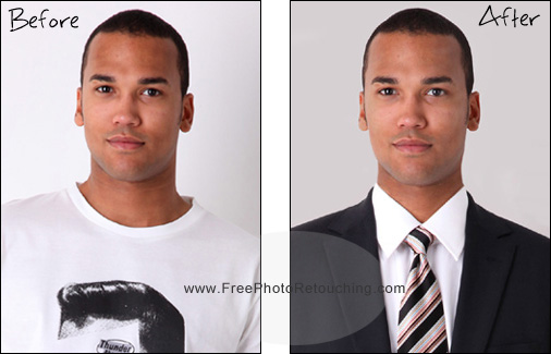 Change your t-shirt in photo to business suit with photo editing